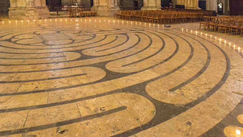 Labyrinth with candles