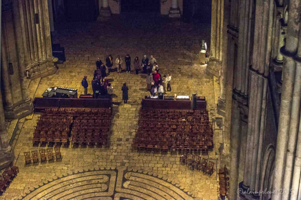 Group preparing to pray the labyrinth