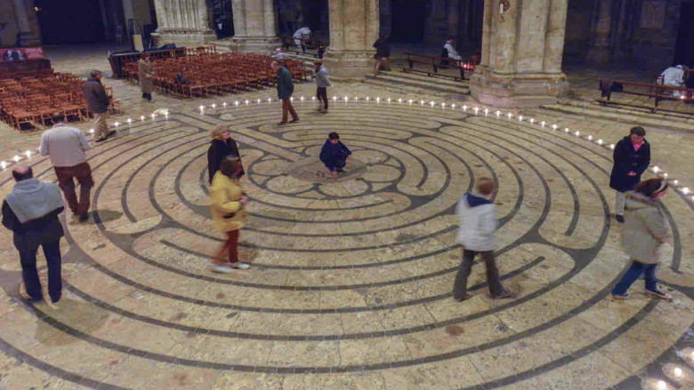 Reatreatants walking the labyrinth after hours