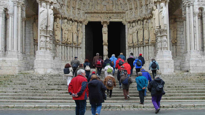 Pilgrims Entering the Cathedral from the North
