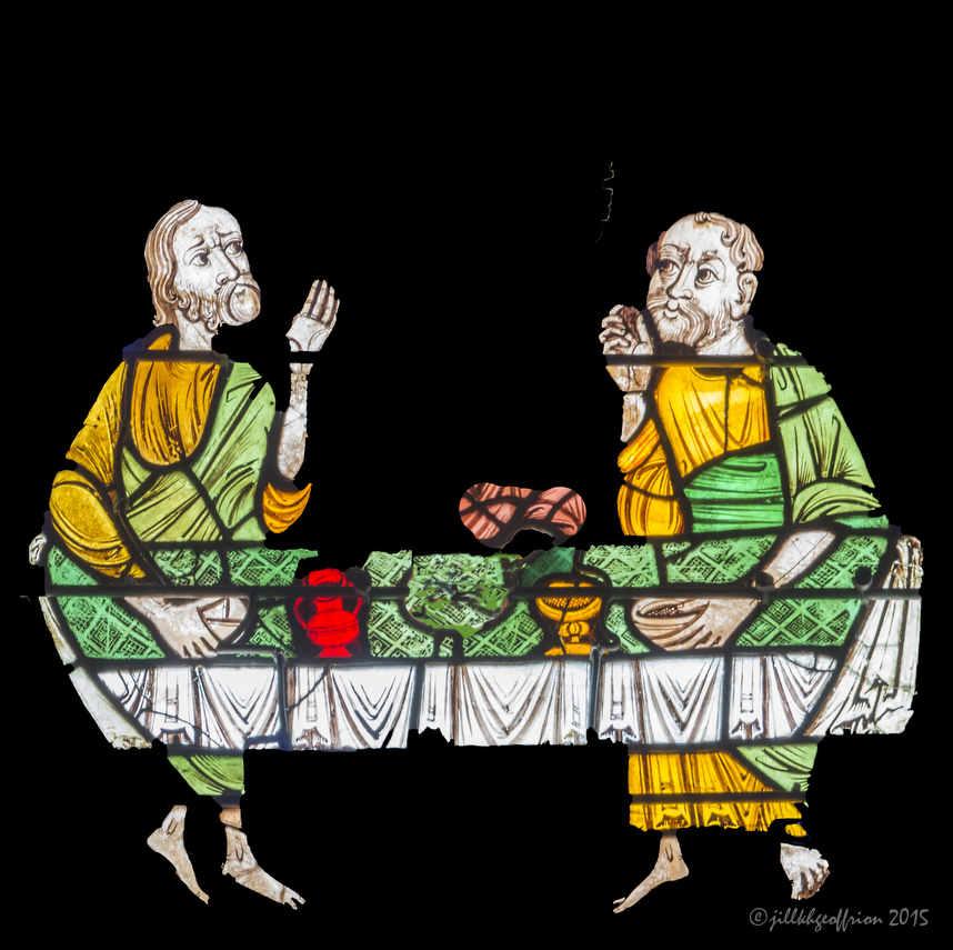 Pilgrims at table, Emmaus