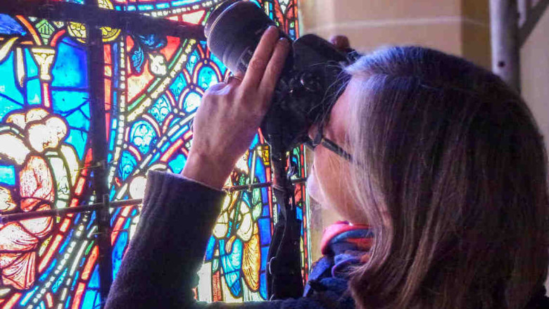 JKHG Photographying Stained Glass Window