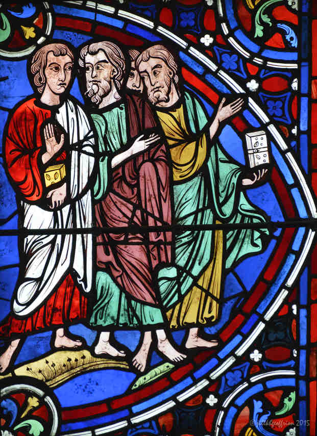 Three disciples walk in the Apostles Window (By Jill K H Geoffrion)