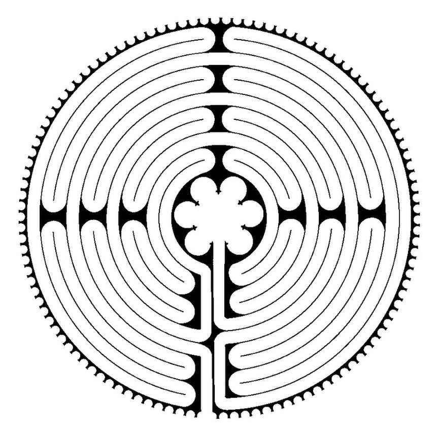 Diagram of the Chartres labyrinth drawn by Warren Lynn