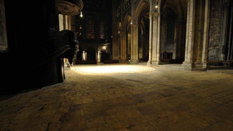 Lighted labyrinth at night