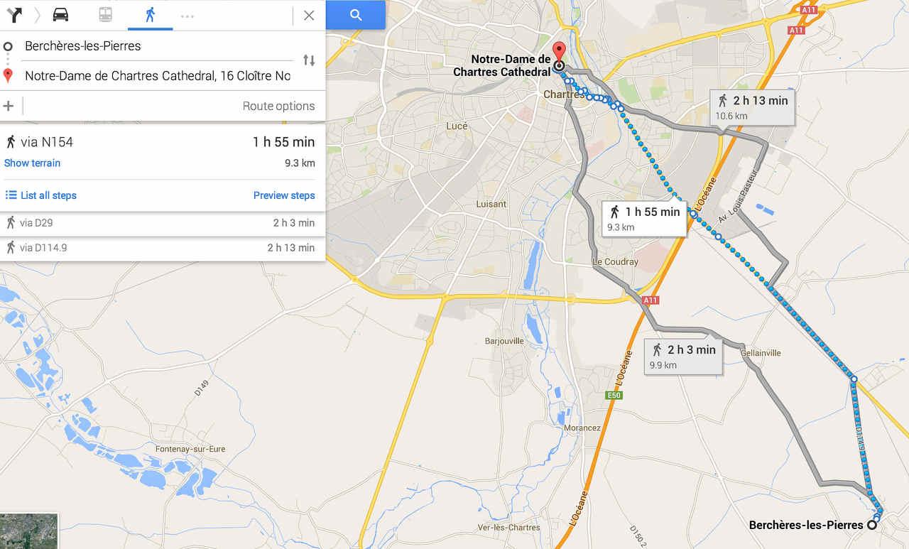 Distance between Chartres and Berchères-les-Pierres