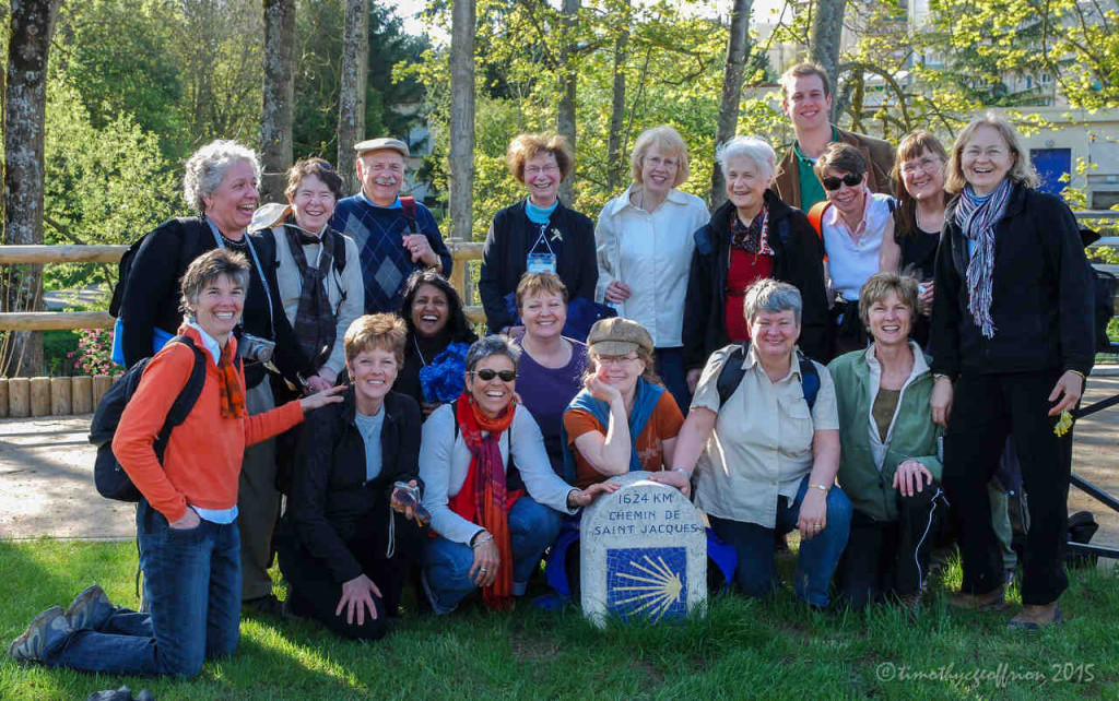 Group posing by the Camino Sign