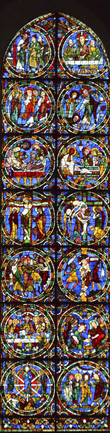 The Passion and Resurrection Stained Glass Window (Twelfth Century)