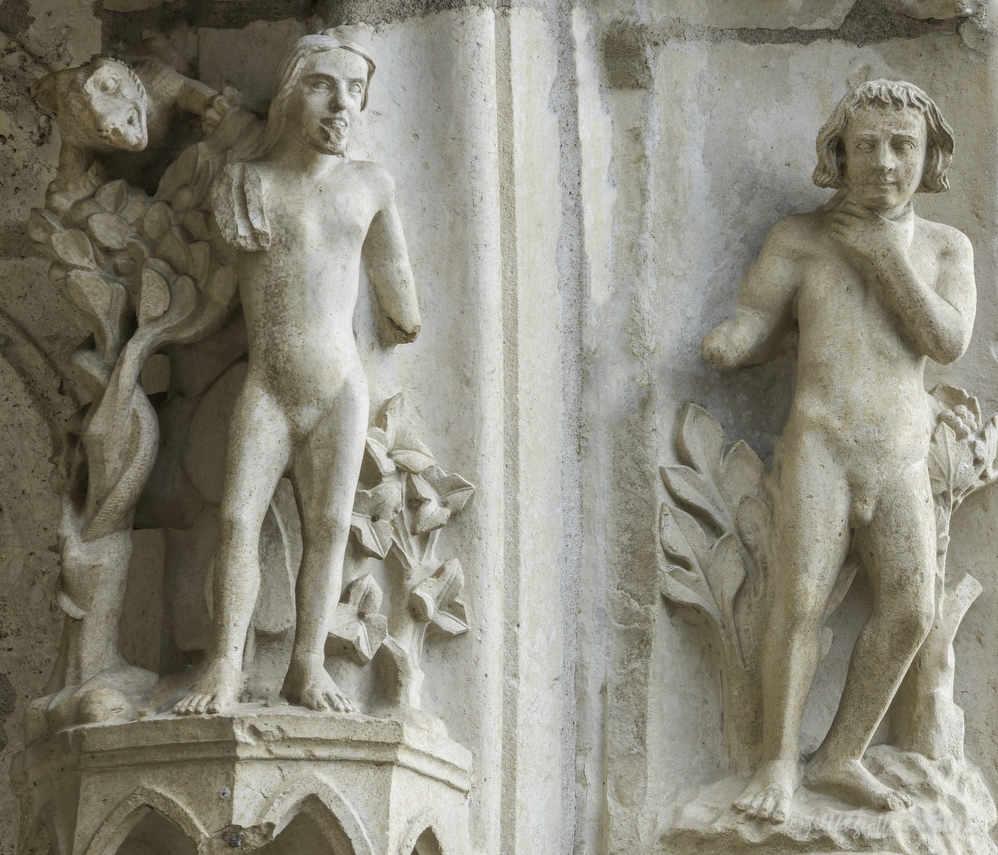 Adam choking, Eve listening to the serpent in the Garden of Eden by Jill K H Geoffrion