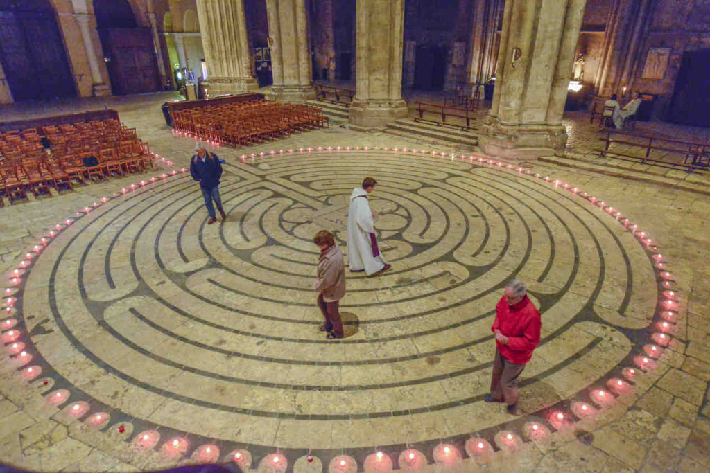 Evening labyrinth group walk by Jill K H Geoffrion