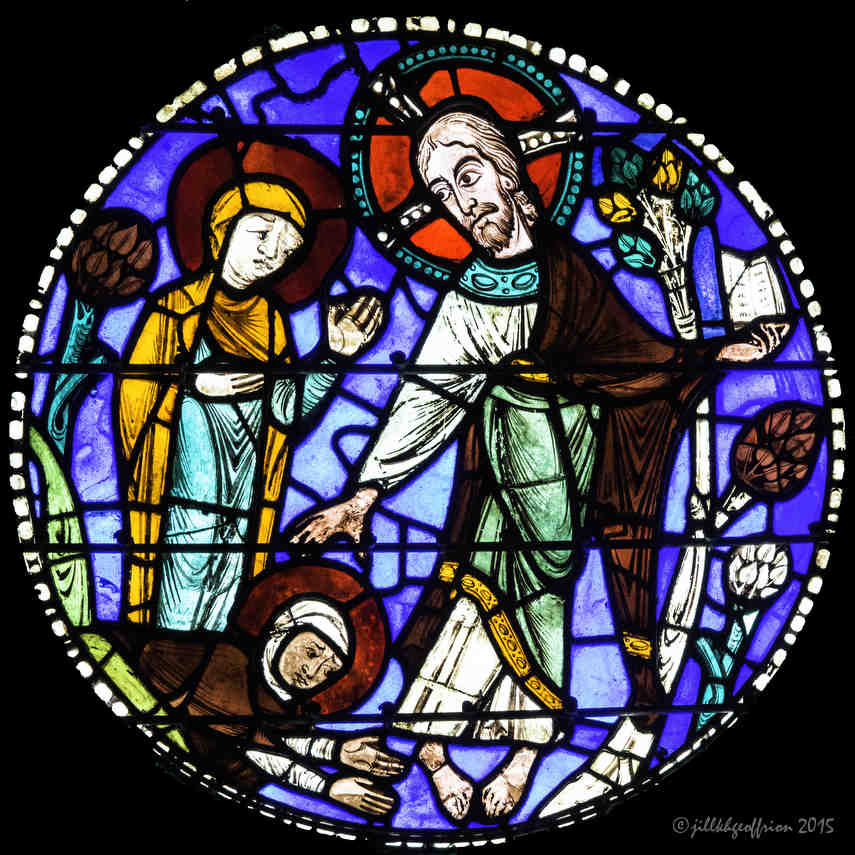Mary with the resurrected Christ in the Passion and Resurrection Window by Jill K H Geoffrion