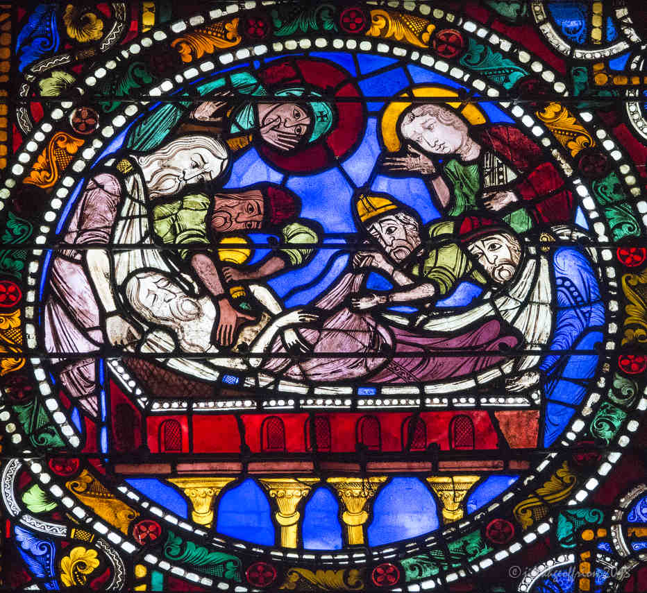 The entombment of Jesus in the Passion and Resurrection Window by Jill K H Geoffrion