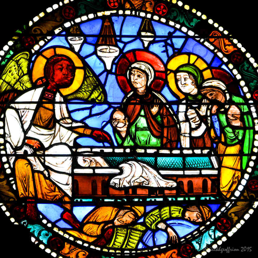 The angel and Marys at Jesus's tomb in the Passion and Resurrection Window by Jill K H Geoffrion